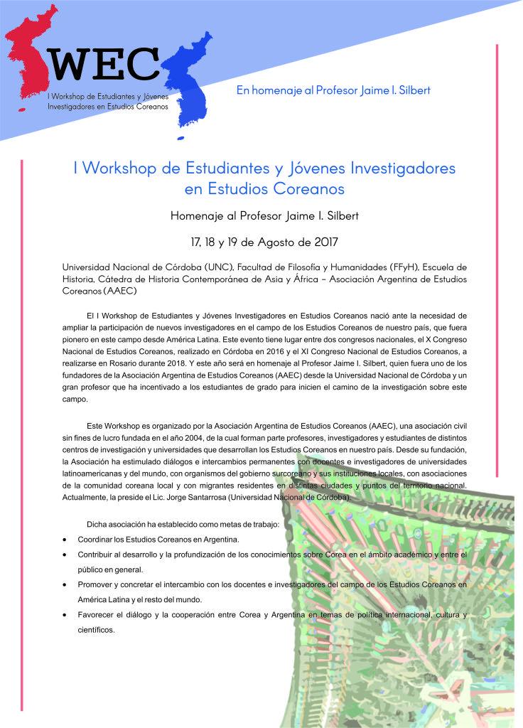 Circular - I Workshop de Estudiantes y Jóvenes Investigadores en Estudios Coreanos 1